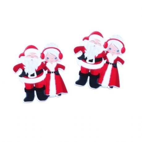 5 X 38MM MR + MRS CLAUS SANTA CHRISTMAS XMAS LASER CUT FLAT BACK RESIN HAIR BOWS HEADBANDS